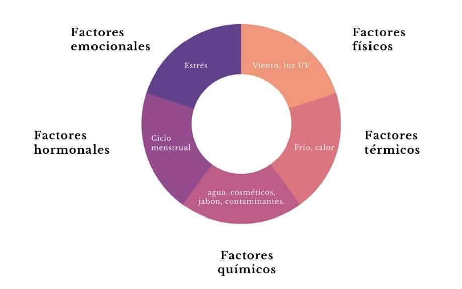 factores que desencadenan piel sensible: estrés, viento, luz, frío, calor